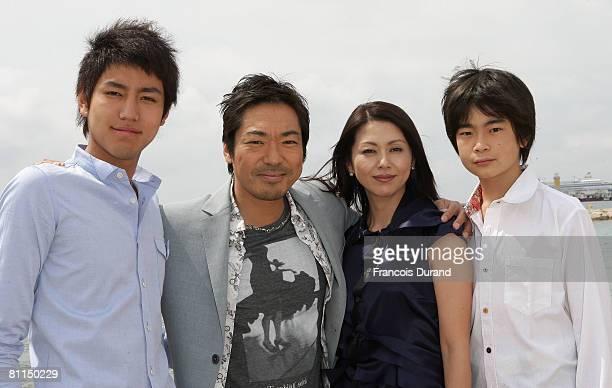 Actor Yu Koyanagi Teruyuki Kagawa Actress Kyoko Koizumi Actor Kai Inowaki attends the Tokyo Sonata Cast Photocall at Majestic Beach during the 61st...