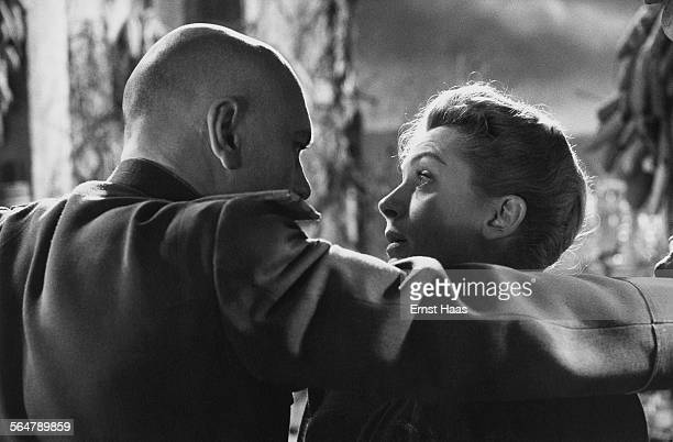 Actor Yul Brynner stars as Major Surov with Deborah Kerr as Diana Ashmore in the film 'The Journey' directed by Anatole Litvak 1959