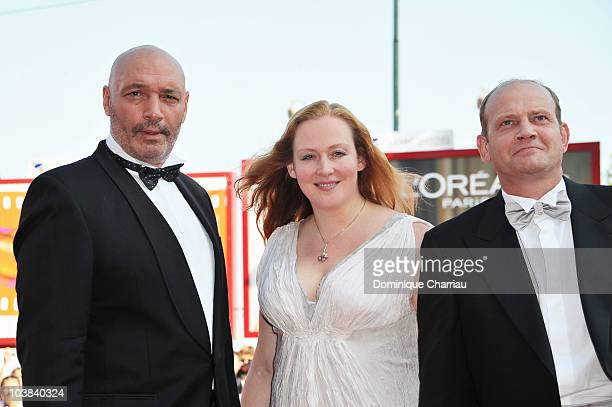 Actor Yuriy Tsurilo actress Yuliya Aug and actor Igor Sergeyev attends the 'Silent Souls' premiere at the Palazzo del Cinema during the 67th Venice...