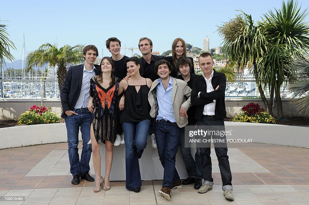 actor Yvan Tassin, French actress Audrey Bastien, French actor Arthur Mazet, actress Selma El Moussi, French director Fabrice Gobert, French actor Esteban Carvajal Alegria, French actress Ana Girardot, French actor Laurent Delbecque and French actor Jules Pelissier pose during the photocall 'Simon Werner a Disparu' (Lights Out) presented in the Un Certain Regard selection at the 63rd Cannes Film Festival on May 20, 2010 in Cannes.