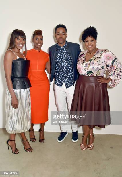Actor Yvonne Orji CoCreator/Executive Producer/Writer/Actor Issa Rae and actors Jay Ellis and Natasha Rothwell attend Insecure FYC at Television...
