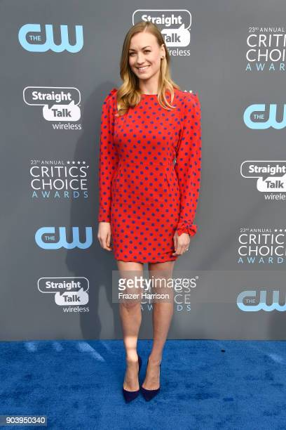 Actor Yvonne Strahovski attends The 23rd Annual Critics' Choice Awards at Barker Hangar on January 11 2018 in Santa Monica California
