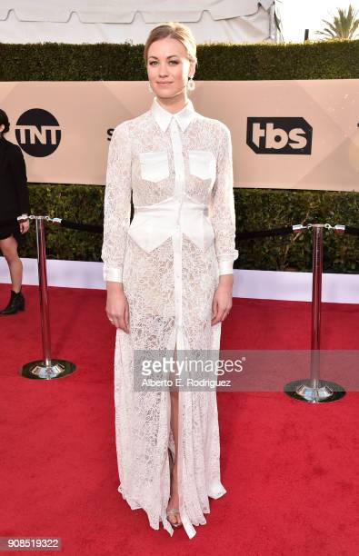Actor Yvonne Strahovski attends the 24th Annual Screen Actors Guild Awards at The Shrine Auditorium on January 21 2018 in Los Angeles California...