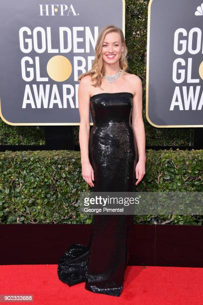 Actor Yvonne Strahovski attends The 75th Annual Golden Globe Awards at The Beverly Hilton Hotel on January 7 2018 in Beverly Hills California
