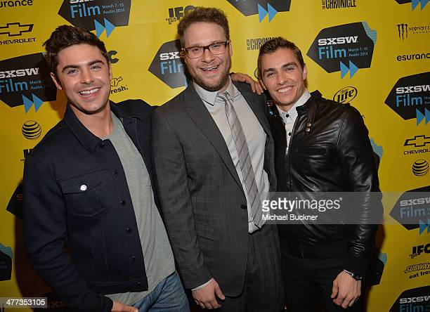 Actor Zac Efron actor Seth Rogen and actor Dave Franco pose for pictures in the green room at the premiere of Neighbors during the 2014 SXSW Music...