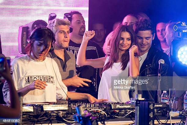 Actor Zac Efron actress Emily Ratajkowski and director Max Joseph join on stage with DJ Anna Lunoe at We Are Your Friends tour afterparty on August...