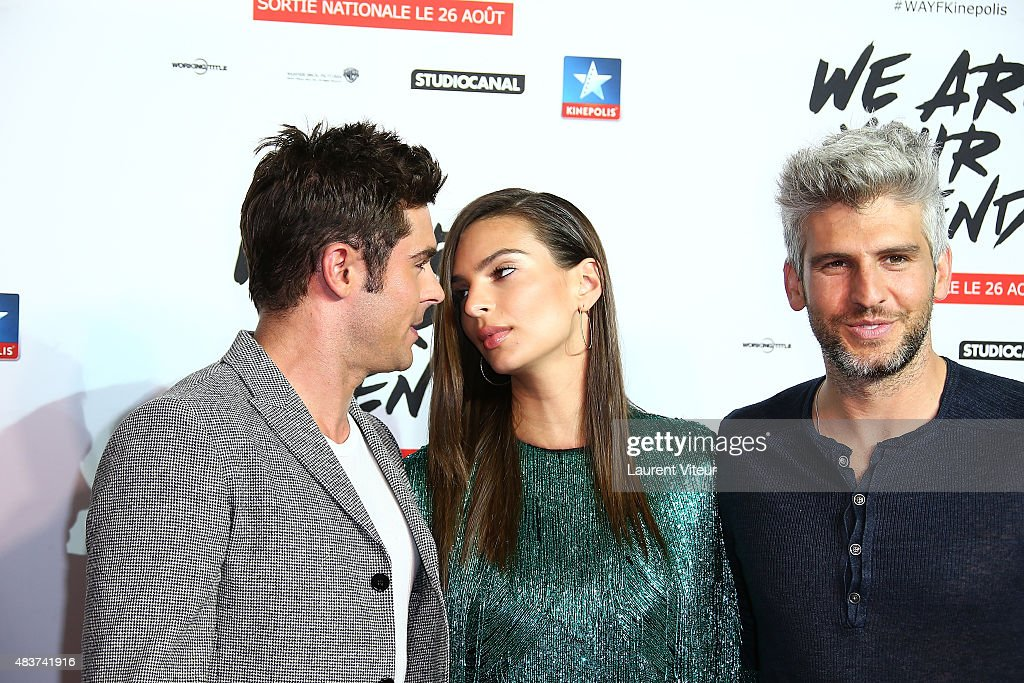 Actor Zac Efron, Actress Emily Ratajkowski and Director Max Joseph attend the 'We Are Your Friends' Premiere at Kinepolis on August 12, 2015 in Lille, France.