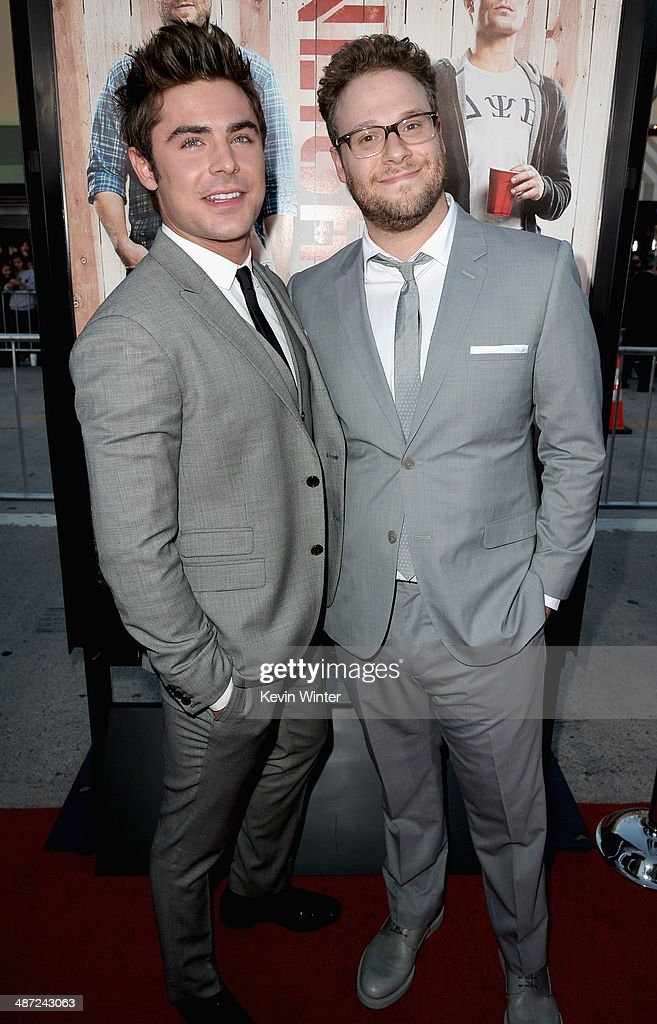 Actor Zac Efron (L) and actor/producer Seth Rogen attend Universal Pictures' 'Neighbors' premiere at Regency Village Theatre on April 28, 2014 in Westwood, California.