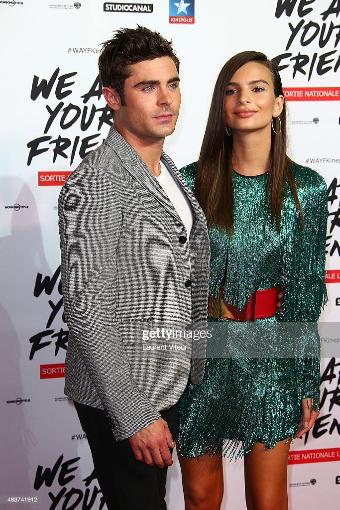 Actor Zac Efron and Actress Emily Ratajkowski attend the 'We Are Your Friends' Premiere at Kinepolis on August 12, 2015 in Lille, France.