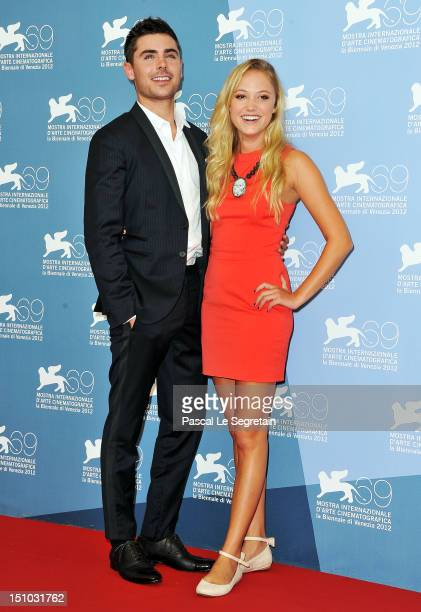Actor Zac Efron and actress Maika Monroe attend the At Any Price photocall during the 69th Venice Film Festival at the Palazzo del Casino on August...