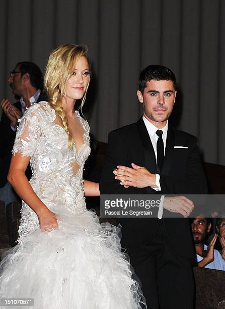 Actor Zac Efron and actress Maika Monroe attend the At Any Price premiere during the 69th Venice Film Festival at the Palazzo del Cinema on August 31...