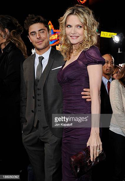 Actor Zac Efron and actress Michelle Pfeiffer arrive at the Los Angeles Premiere 'New Year's Eve' at Grauman's Chinese Theatre on December 5 2011 in...