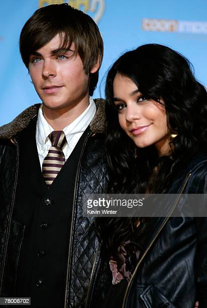 Actor Zac Efron and actress Vanessa Anne Hudgens arrive at the DVD premiere of Disney's High School Musical 2 held at the El Capitan Theatre on...