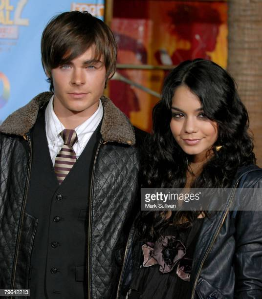Actor Zac Efron and actress Vanessa Anne Hudgens arrive at the High School Musical 2 DVD release gala held in Hollywood California on November 19 2007