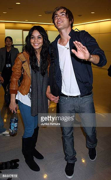 Actor Zac Efron and actress Vanessa Hudgens arrive at Narita International Airport on January 25 2009 in Narita Chiba Japan They are on tour in Japan...