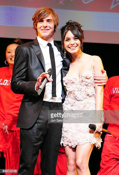 Actor Zac Efron and actress Vanessa Hudgens attend the 'High School Musical 3' Japan Premiere at Shinagawa Prince Hotel on January 28 2009 in Tokyo...
