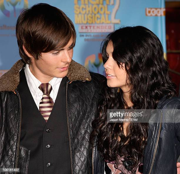 Actor Zac Efron and actress Vanessa Hudgens pose at the DVD release of Disney Channels' 'High School Musical 2 Extended Edition' at The El Capitan...
