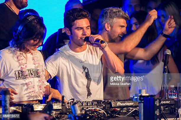 Actor Zac Efron and director Max Joseph join on stage with DJ Anna Lunoe on We Are Your Friends tour afterparty on August 21 2015 in San Francisco...