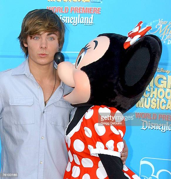 """Actor Zac Efron and Minnie Mouse arrive at Disney's """"High School Musical 2"""" world premiere at Downtown Disney on August 14, 2007 in Anaheim,..."""