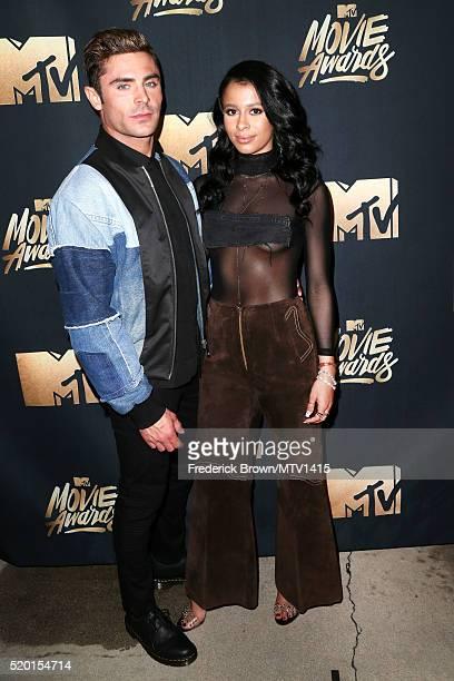 Actor Zac Efron and model Sami Miro attend the 2016 MTV Movie Awards at Warner Bros Studios on April 9 2016 in Burbank California MTV Movie Awards...
