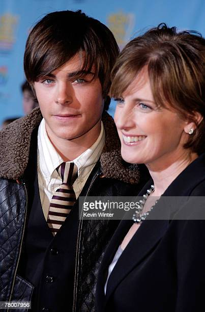 Actor Zac Efron and President and cochairman of Disney/ABC Television Anne Sweeney arrive at the DVD premiere of Disney's High School Musical 2 held...
