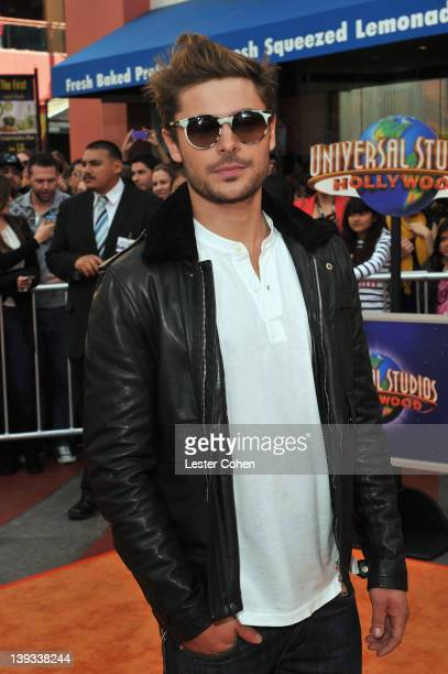 Actor Zac Efron arrives at the Dr Seuss' The Lorax Los Angeles Premiere at Universal Studios Hollywood on February 19 2012 in Universal City...