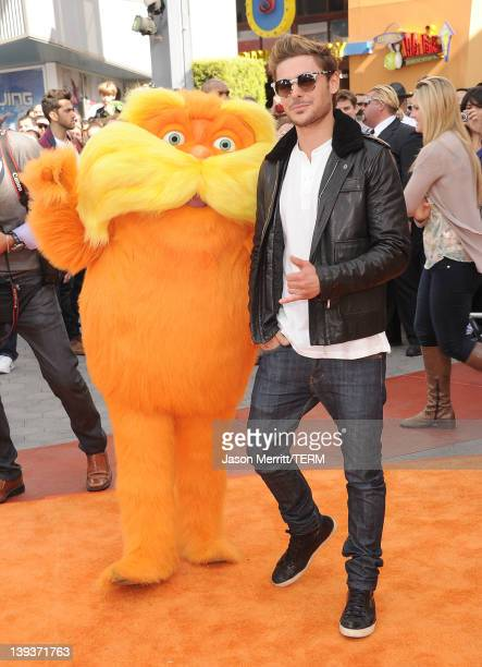 Actor Zac Efron arrives at the 'Dr Suess' The Lorax' Los Angeles premiere at Universal Studios Hollywood on February 19 2012 in Universal City...