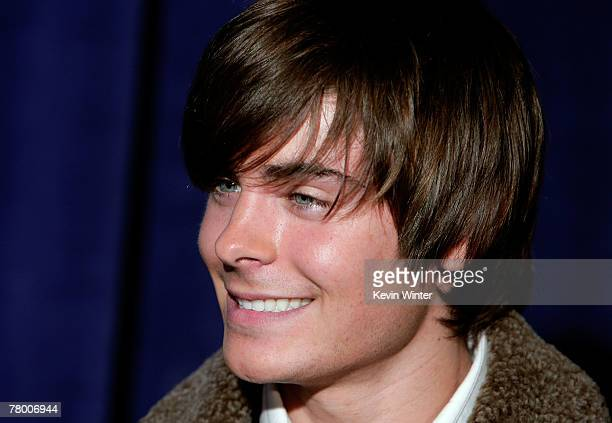 Actor Zac Efron arrives at the DVD premiere of Disney's High School Musical 2 held at the El Capitan Theatre on November 19 2007 in Los Angeles...