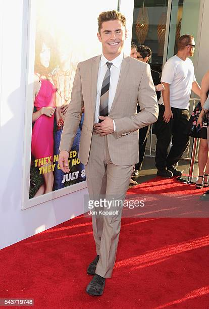 Actor Zac Efron arrives at the Los Angeles Premiere 'Mike And Dave Need Wedding Dates' at the ArcLight Cinerama Dome on June 29 2016 in Los Angeles...
