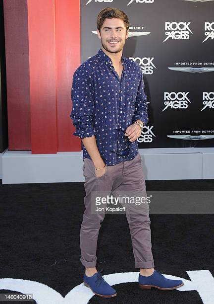 Actor Zac Efron arrives at the Los Angeles Premiere Rock Of Ages at Grauman's Chinese Theatre on June 8 2012 in Hollywood California