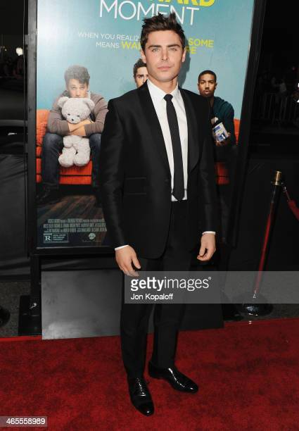 Actor Zac Efron arrives at the Los Angeles Premiere 'That Awkward Moment' at Regal Cinemas LA Live on January 27 2014 in Los Angeles California