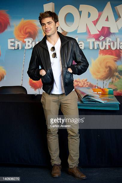 Actor Zac Efron attends a meeting with fans to promote Dr Seuss The Lorax at Corte Ingles store on March 8 2012 in Madrid Spain