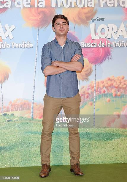 Actor Zac Efron attends a photocall for 'Dr Seuss The Lorax' at Villa Magna Hotel on March 8 2012 in Madrid Spain