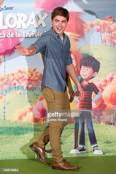 Actor Zac Efron attends Dr Seuss The Lorax photocall at Villamagna Hotel on March 8 2012 in Madrid Spain