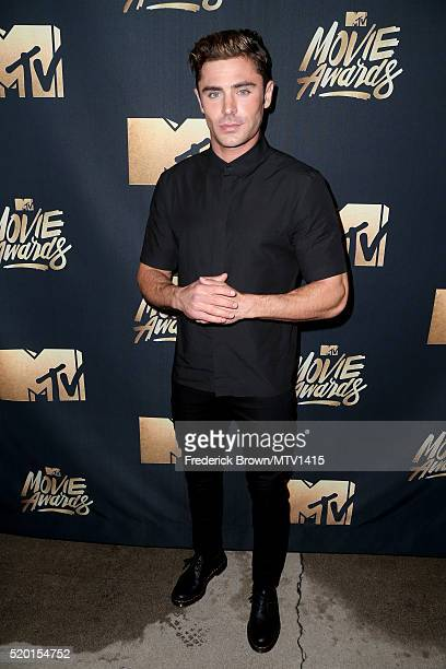 Actor Zac Efron attends the 2016 MTV Movie Awards at Warner Bros Studios on April 9 2016 in Burbank California MTV Movie Awards airs April 10 2016 at...