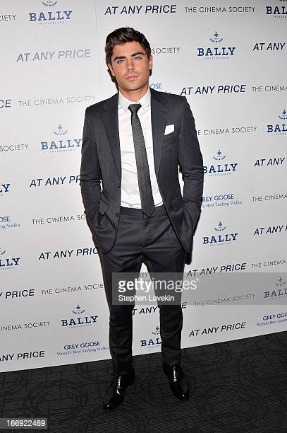 Actor Zac Efron attends the Cinema Society Bally screening of Sony Pictures Classics' At Any Price at Landmark Sunshine Cinema on April 18 2013 in...