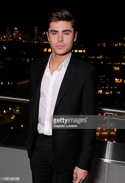 Actor Zac Efron attends the Cinema Society Men's Health screening of The Lucky One after party at The Jimmy at the James Hotel on April 19 2012 in...
