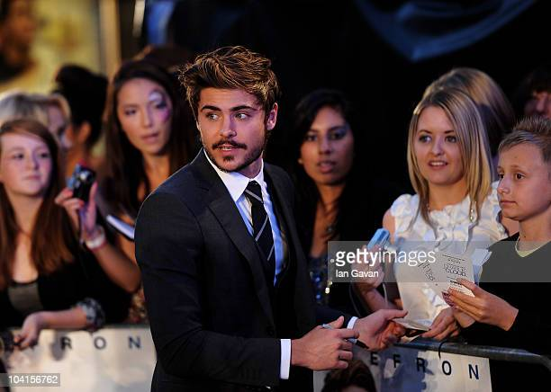 Actor Zac Efron attends The Death And Life Of Charlie St Cloud UK film premiere at the Empire Leicester Square on September 16 2010 in London England