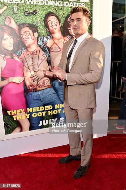 Actor Zac Efron attends the premiere of 20th Century Fox's Mike and Dave Need Wedding Dates at ArcLight Cinemas Cinerama Dome on June 29 2016 in Los...