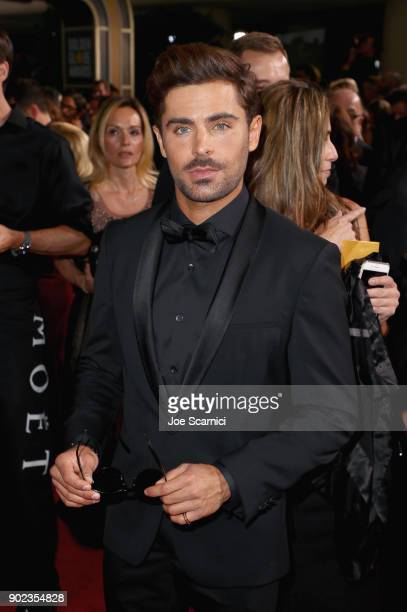 Actor Zac Efron celebrates The 75th Annual Golden Globe Awards with Moet Chandon at The Beverly Hilton Hotel on January 7 2018 in Beverly Hills...