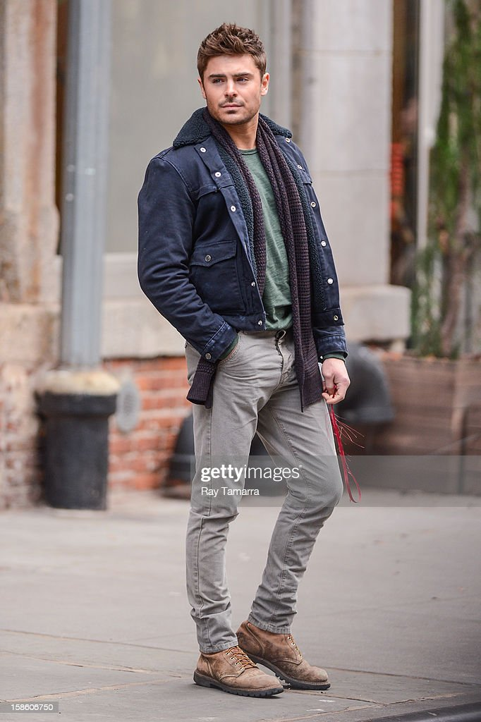 Actor Zac Efron films a scene at the 'Are We Officially Dating?' movie set in Soho on December 20, 2012 in New York City.