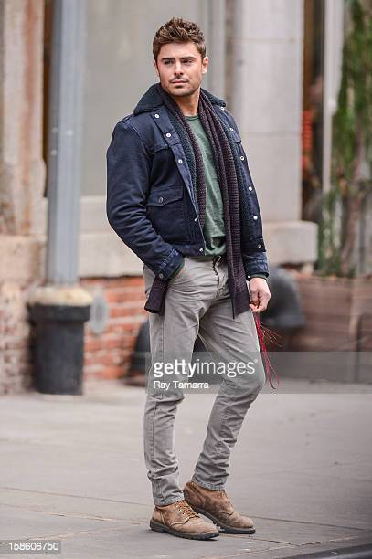 "Actor Zac Efron films a scene at the ""Are We Officially Dating?"" movie set in Soho on December 20, 2012 in New York City."
