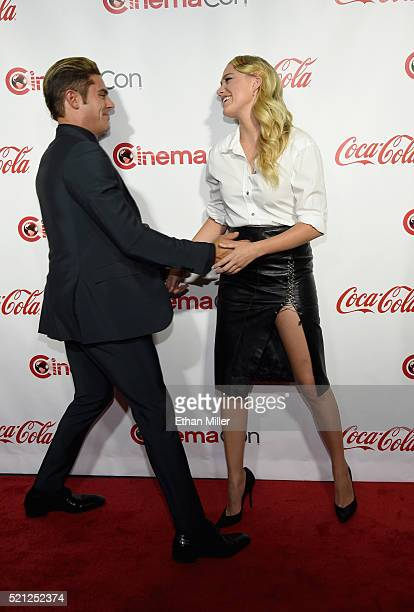 Actor Zac Efron one of the recipients of the Comedy Stars of the Year Award and actress Maika Monroe one of the recipients of the Ensemble of the...