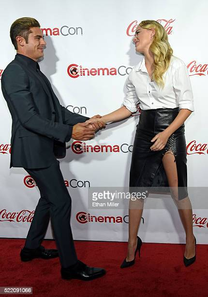 Actor Zac Efron, one of the recipients of the Comedy Stars of the Year Award, and actress Maika Monroe, one of the recipients of the Ensemble of the...