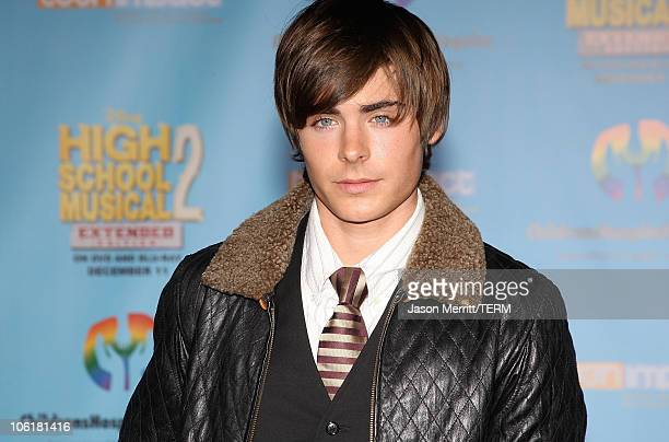 Actor Zac Efron poses at the DVD release of Disney Channels' 'High School Musical 2: Extended Edition' at The El Capitan Theatre on November 19, 2007...
