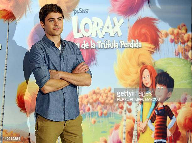 US actor Zac Efron poses during the photocall of directors Chris Renaud and Kyle Balda movie Dr Seuss The Lorax in Madrid on March 8 2012 AFP PHOTO/...