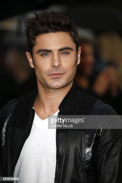 US actor Zac Efron poses on arrival for the premiere of We Are Your Friends in London on August 11 2015 TALLIS