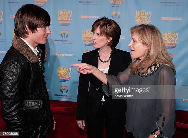 Actor Zac Efron President and cochairman of Disney/ABC Television Anne Sweeney and Dr Aura Kuperberg arrive at the DVD premiere of Disney's High...