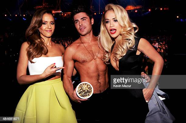 Actor Zac Efron winner of the Best Shirtless Performance award for 'That Awkward Moment' with actress Jessica Alba and singer Rita Ora at the 2014...