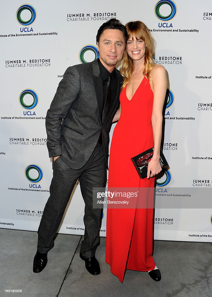Actor Zach Braff and actress Taylor Bagley attend UCLA Institute Of The Environment And Sustainability's 2nd Annual 'An Evening Of Environmental Excellence' - Arrivals on March 5, 2013 in Beverly Hills, California.